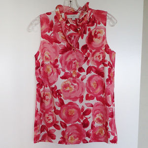 LOFT Sleeveless Ruffled Collar Floral Blouse